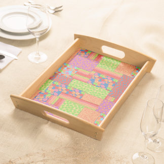 Colourful Faux Patchwork of Summer Fruits Patterns Serving Tray
