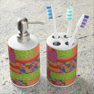Colourful Faux Patchwork of Summer Fruits Patterns Soap Dispenser And Toothbrush Holder