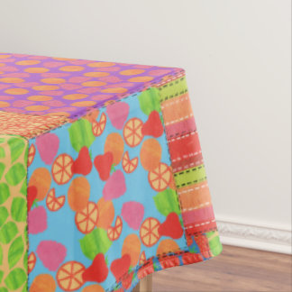 Colourful Faux Patchwork of Summer Fruits Patterns Tablecloth
