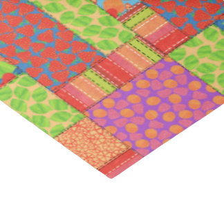 Colourful Faux Patchwork of Summer Fruits Patterns Tissue Paper