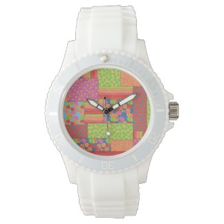 Colourful Faux Patchwork of Summer Fruits Patterns Wristwatches