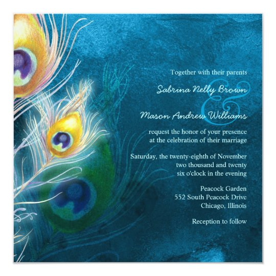 Colourful Feathers Peacock Theme Wedding Card