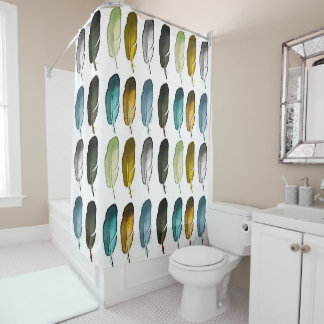 Colourful feathers shower curtain