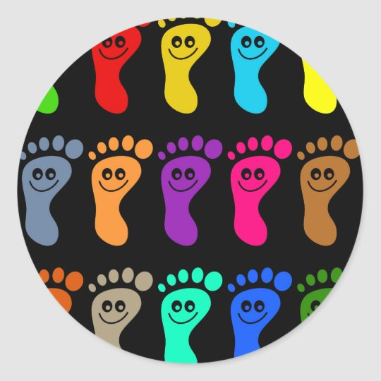 Colourful Feet Classic Round Sticker