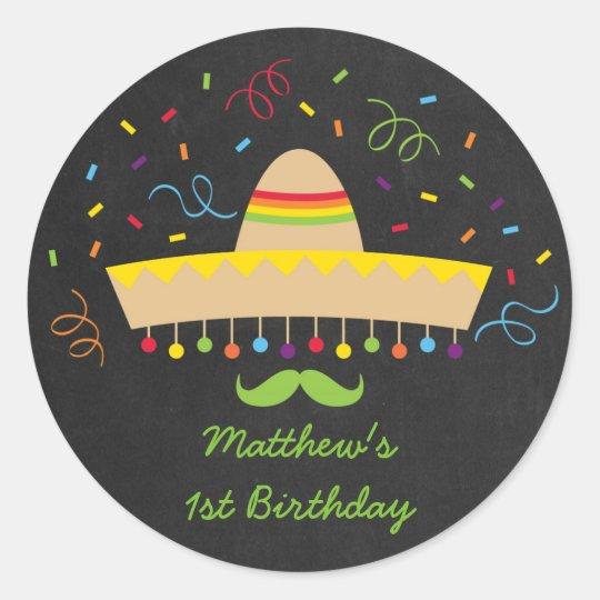 Colourful Fiesta Chalkboard Classic Round Sticker