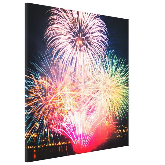 Colourful Fireworks Canvas Print