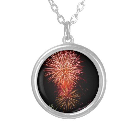 Colourful fireworks of various colours light up silver plated necklace