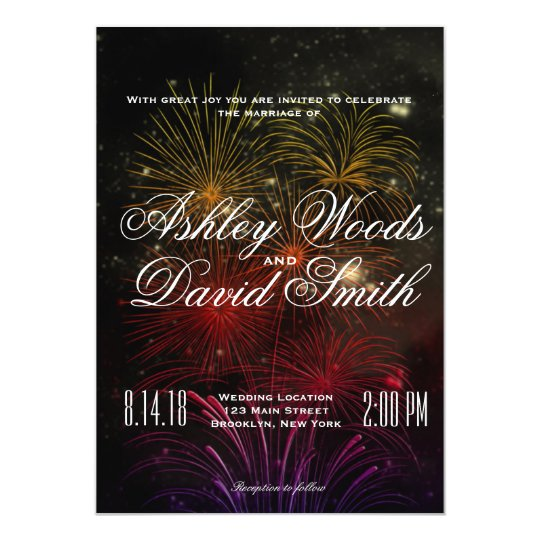 Colourful Fireworks Wedding Invitation