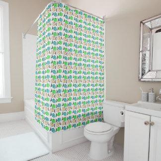 Colourful fish design shower curtain