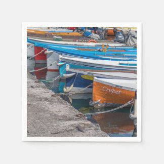 Colourful fishing boats disposable serviettes