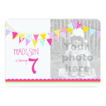 Colourful flags girls 7th birthday party invite