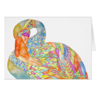 Colourful flamingo greeting card