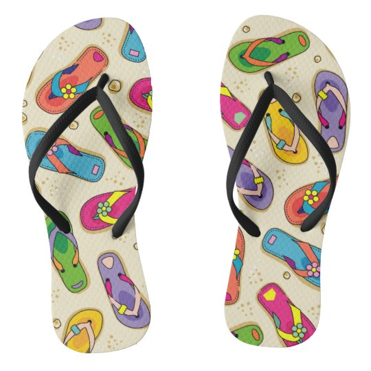 Colourful flip flop printed sandals