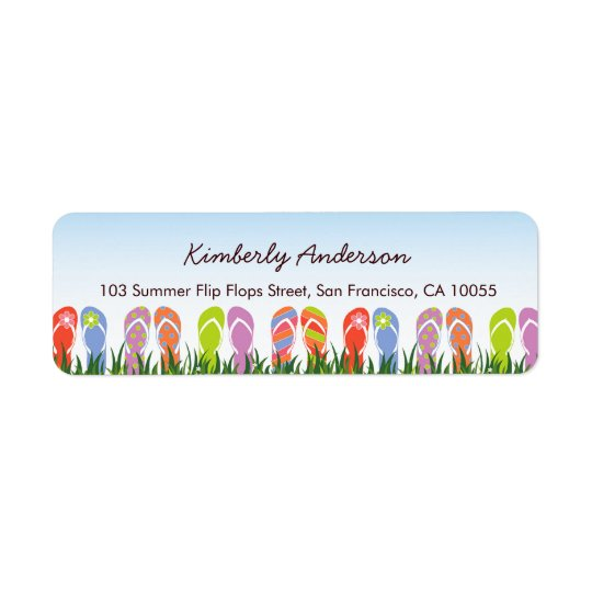 Colourful Flip Flops Fun In The Sun Birthday Party Return Address Label