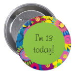 Colourful Floral 13th Birthday Button