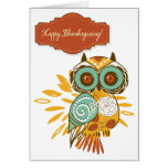 Colourful Floral Autumn Owl Happy Thanksgiving Greeting Cards