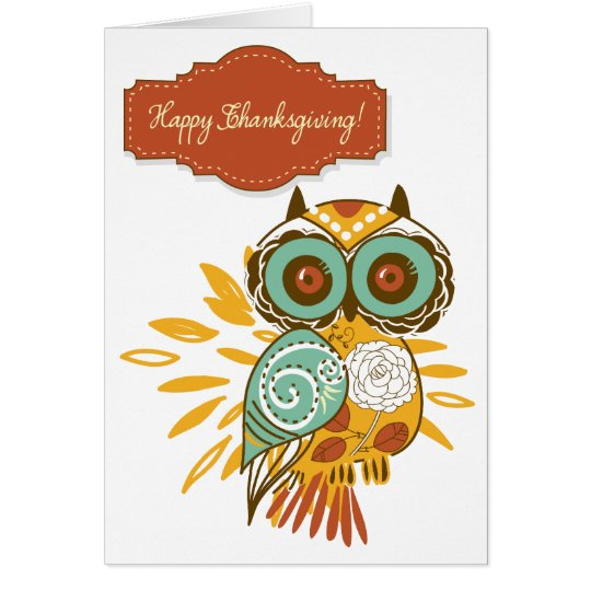 Colourful Floral Autumn Owl Happy Thanksgiving Card