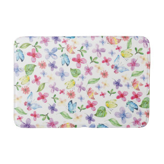 Colourful floral butterfly watercolor bath mat