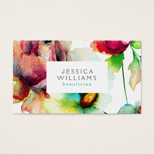 Colourful Floral Collage Watercolors Illustration Business Card