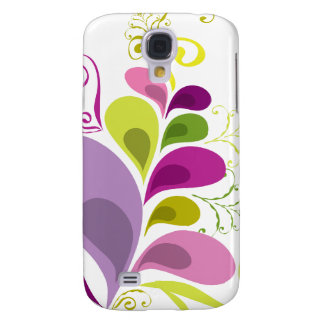 Colourful Floral Deco Leaves Nature Art Deco Chic Galaxy S4 Case