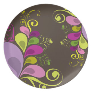 Colourful Floral Deco Leaves Nature Art Deco Chic Dinner Plate