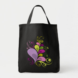 Colourful Floral Deco Leaves Nature Art Deco Chic Grocery Tote Bag