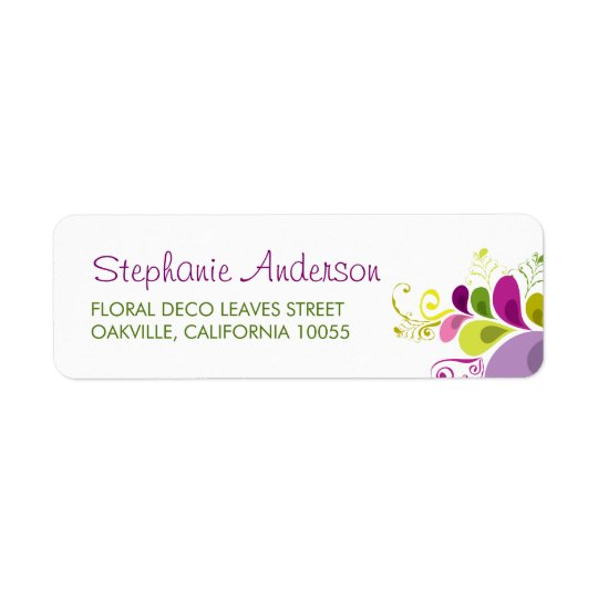 Colourful Floral Deco Leaves Wedding Address