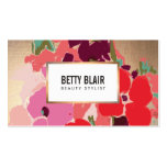 Colourful Floral, Gold Elegant Beauty Salon Pack Of Standard Business Cards