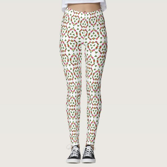 Colourful floral hearts Leggings