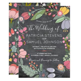 Colourful floral meadow wreath chalkboard wedding card