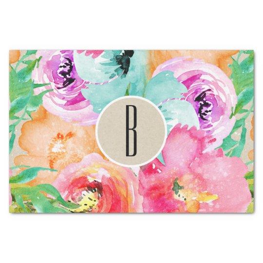 Colourful Floral Modern Rustic Botanical Kraft Tissue Paper