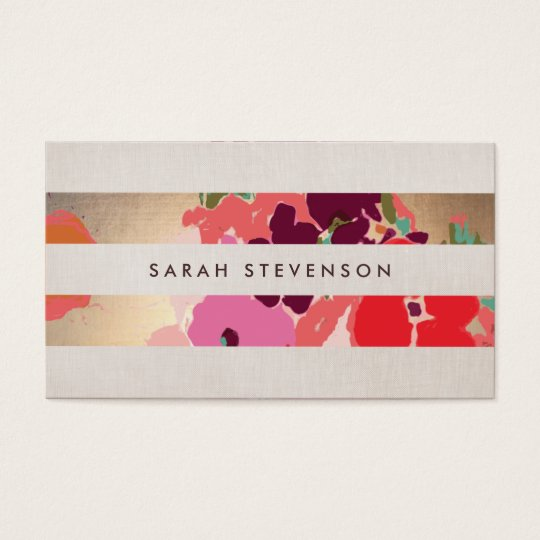 Colourful Floral Painted Flowers Gold Striped Business Card