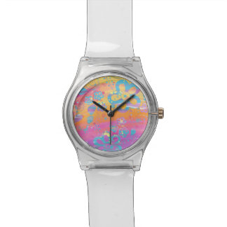 Colourful floral painting watch