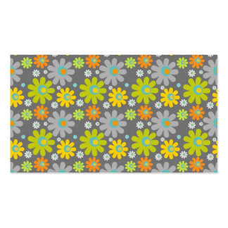 colourful floral pattern blue green orange grey business card template