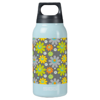 colourful floral pattern blue green orange grey insulated water bottle