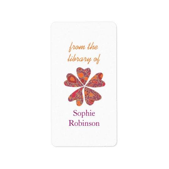 Colourful floral personalised bookplates label