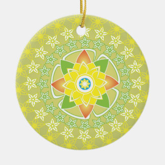 Colourful Floral Round Ceramic Decoration