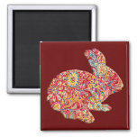 Colourful Floral Silhouette Easter Bunny Magnet