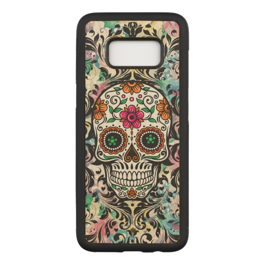 Colourful Floral Skull Black Swirls 2 Carved Samsung