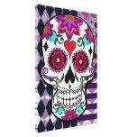 Colourful floral sugar skull canvas print