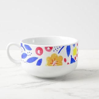 Colourful Floral Watercolour Soup Bowl