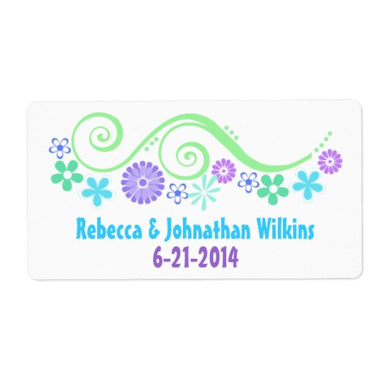 Colourful Floral Wedding Wine Favour Label