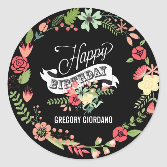 Colourful Floral Wreath Happy Birthday Classic Round Sticker