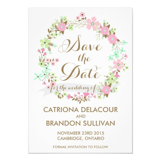 Colourful Floral Wreath Save The Date Announcement