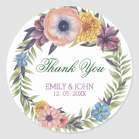 Colourful Floral Wreath-Thank You Classic Round Sticker