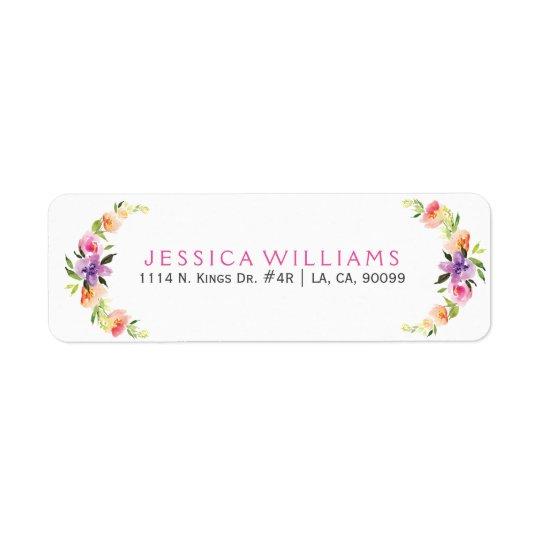 Colourful Floral Wreath Watercolors Illustration Return Address Label