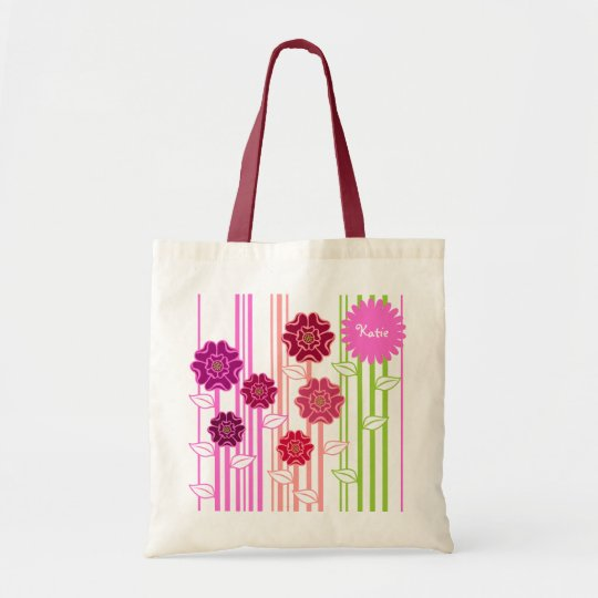 Colourful Florals with Name Area Tote