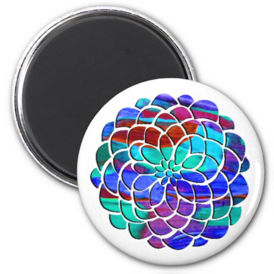 Colourful Flower 6 Cm Round Magnet