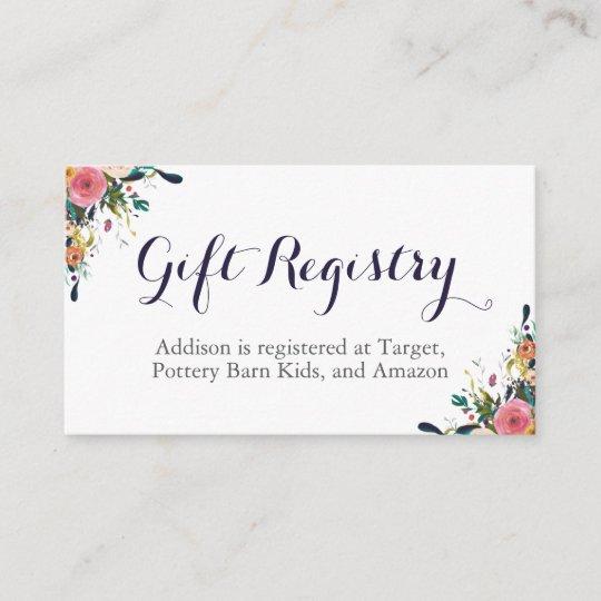 colourful flower baby shower registry insert cards