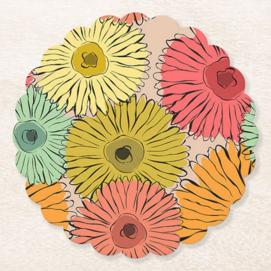 Colourful Flower Coozy Paper Coaster